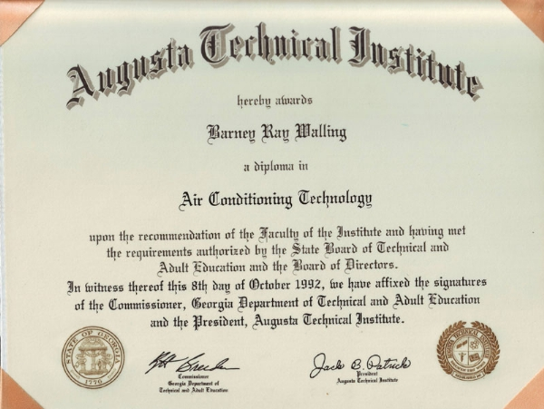 Augusta Tech Diploma | Barney's Air Conditioning and Heating, Inc.