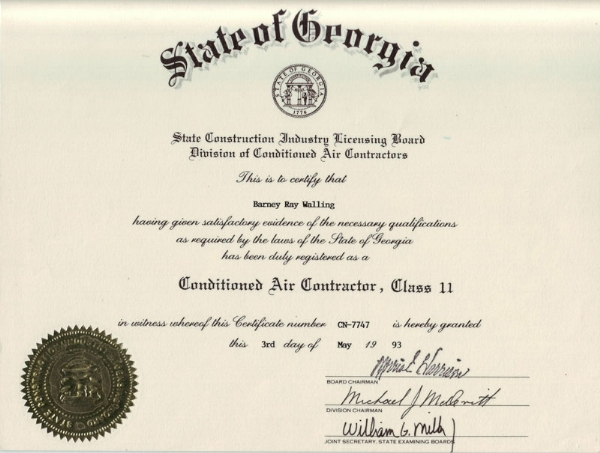 Contractor's License | Barney's Air Conditioning and Heating, Inc.